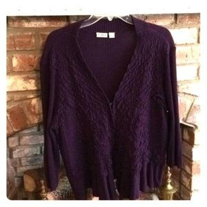 cato purple open front 3/4 sleeve sweater XL
